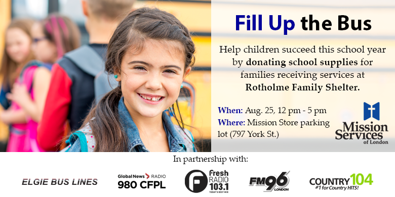 Mission Services – Fill Up the Bus in support of Rotholme Family Shelter